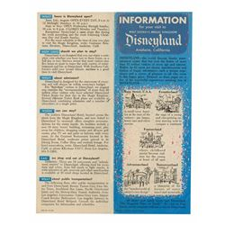 """Information for Your Visit to Disneyland"" Pamphlet."