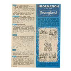 Information for Your Visit to Disneyland  Pamphlet.