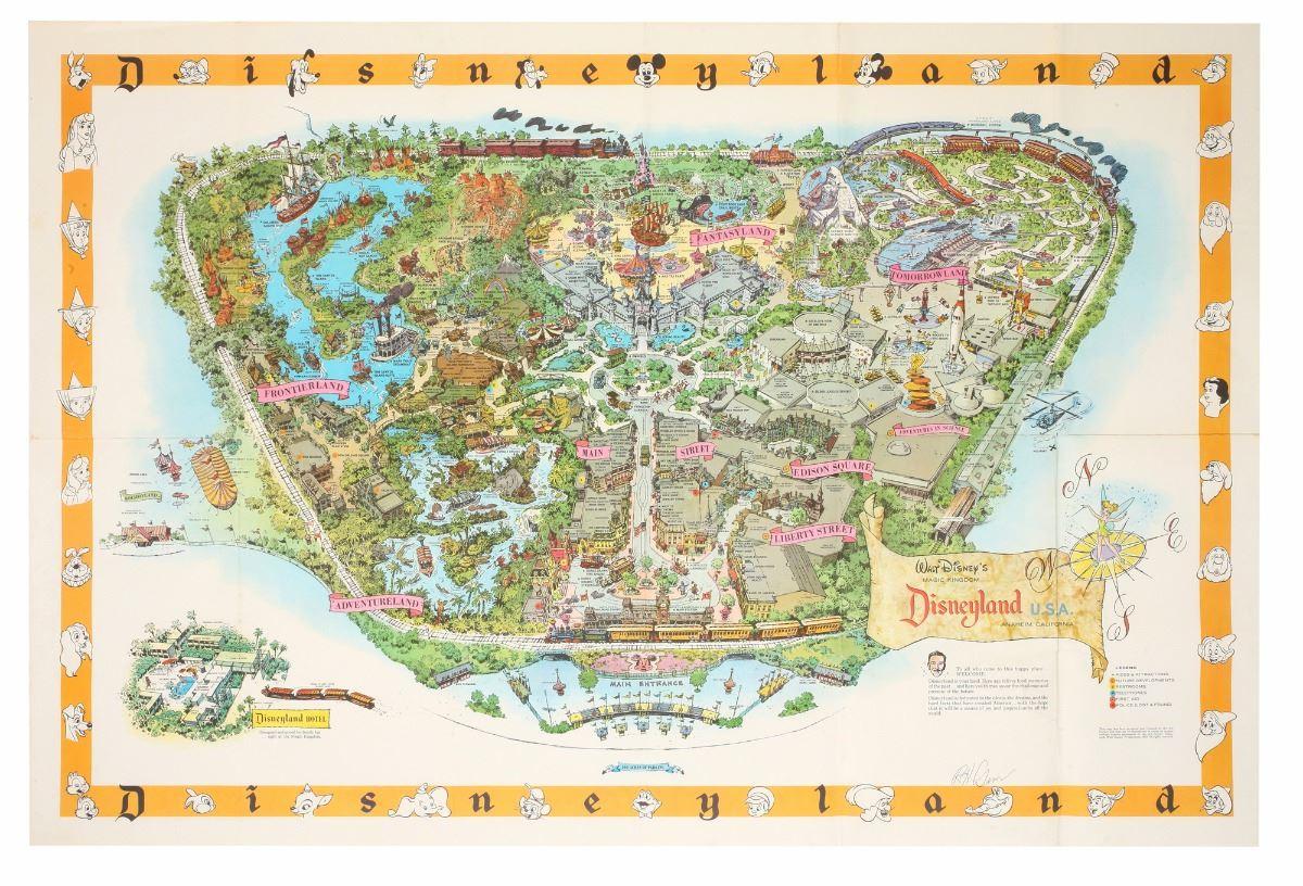 Disneyland Usa Map.1958 B Disneyland Map