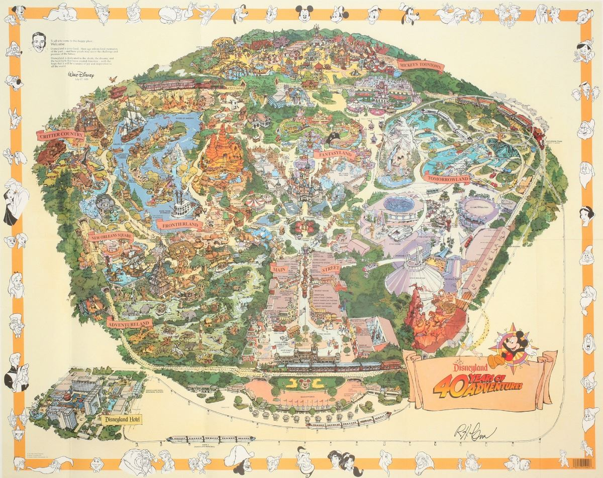 1995 Disneyland Map. on