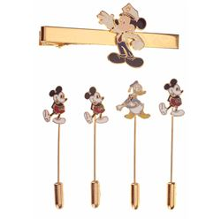 Disneyland Security Tie Clip and (4) Character Tie Tacks.