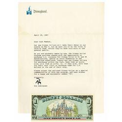 Disneyland Cast Member Letter & Disney Dollar.