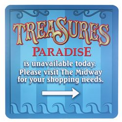 """Treasures in Paradise"" Closed Sign."