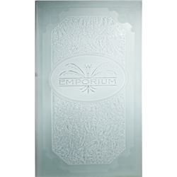Main Street Emporium Etched Glass Panel.
