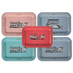 Collection of (5) Main Street Souvenir Tin Trays.