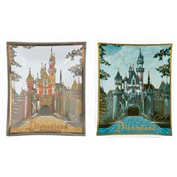 Pair of (2) Smoked Glass Disneyland Trays.
