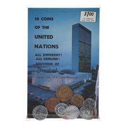 Coin Shop United Nations Postcard with (10) Coins.