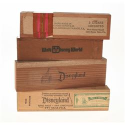 Set of (4) Disneyland and Walt Disney World Cigar Boxes with (2) Cigars.