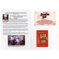 Signed Carnation Ice Cream Parlor Souvenir Miniature Menu.