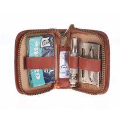 Disneyland Gillette Shaving Kit in Leather Case.