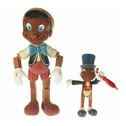 "Pair of (2) ""Pinocchio"" Limited Edition Hand Carved Figures with Development Drawings."