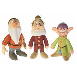 Set of (3) Dwarfs Limited Edition Hand Carved Figures.