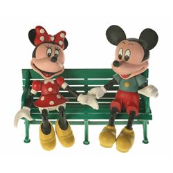 "Set of (2)""Mickey and Minnie"" Limited Edition Hand Carved Figures with Disneyland Bench."
