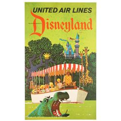 Rare United Air Lines Disneyland Travel Poster.