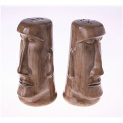 Pair of Adventureland Moa Tiki Salt & Pepper Shakers.