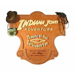 """Indiana Jones Adventure - Temple of the Forbidden Eye"" Entry Sign Wooden Prototype."