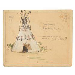 Original (3) Sam Mckim Designs for Hostile Indian Village.