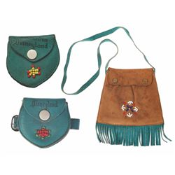Collection of (3) Leather Disneyland Souvenirs with Indian Beading.