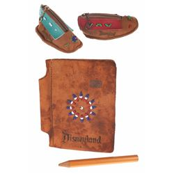 Collection of (2) Indian Beaded Leather Coin Purses and Address Book.