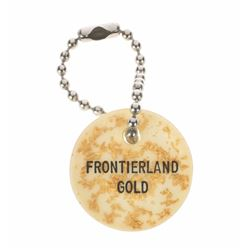 """""""Frontierland Gold"""" Resin Keychain with Real Gold Flakes."""