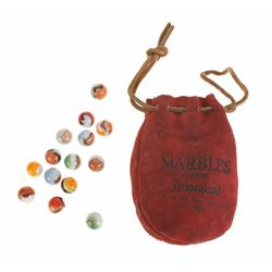 """Marbles from Disneyland"" in Original Leather Pouch."