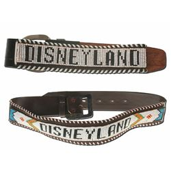 Collection of (2) Disneyland Beaded Black Leather Belt Product Samples.