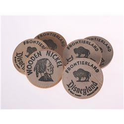 Collection of (6) Frontierland Wooden Nickels.