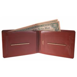 Oversize Buxton Wallet with (2) Davy Crockett $100 Bills.