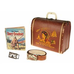 Davy Crockett Suitcase, Golden Book, Belt, & (2) Belt Buckles.