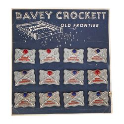 "Misspelt ""Davey Crockett"" Metal Pin Store Display."