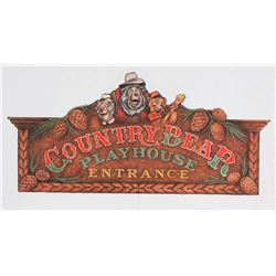 """Country Bear Playhouse"" Entrance Sign Original Design Art."