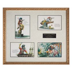 "Rare ""Pirates of the Caribbean"" Framed Postcard Set."