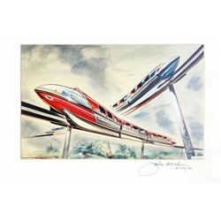 Crossing Monorails  Art Print Signed by John Hench.
