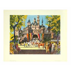 Sleeping Beauty Castle Lithograph for United Air Lines.