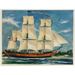 Sam McKim  Sailing Ship Columbia  40th Anniversary Lithograph.