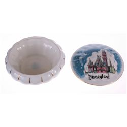 Round Ceramic Sleeping Beauty Castle Trinket Box.