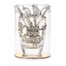Disneyland Shot Glass with Silver Sword Picks.