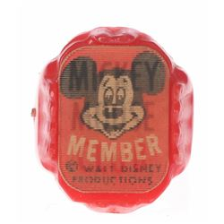 Mickey Mouse Club Member Lenticular Ring.