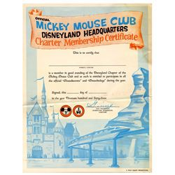 Unused Mickey Mouse Club Charter Membership Certificate.