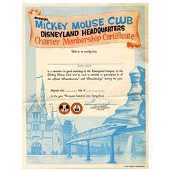 Unused Mickey Mouse Club Charter Membership Certificate.