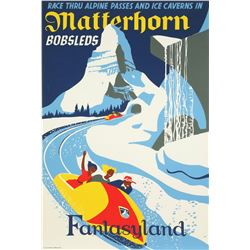 "Original Disneyland ""Matterhorn Bobsleds"" Attraction Poster."