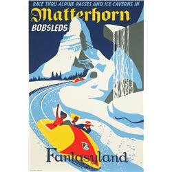 Original Disneyland  Matterhorn Bobsleds  Attraction Poster.