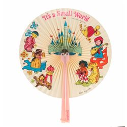 """It's a Small World"" Folding Fan - Pink."