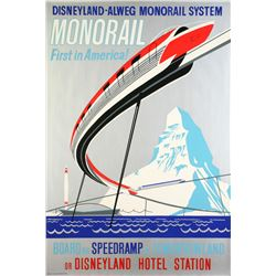 "Original ""Disneyland-Alweg Monorail"" Attraction Poster."
