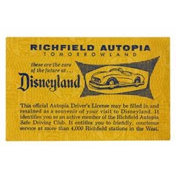 Bob Gurr Signed Autopia Driver's License.