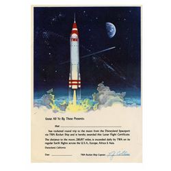 "TWA ""Rocket to the Moon"" Lunar Flight Certificate."