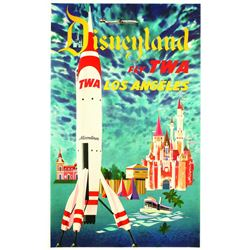 "Original Disneyland ""Fly TWA"" Travel Poster."