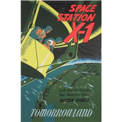 "Original Disneyland ""Space Station X1"" Attraction Poster."