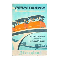 Original Disneyland Displayed Sheet Metal  PeopleMover  Attraction Poster.