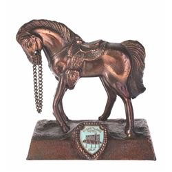 Copper-Tone Horse Figurine with Disneyland Hotel Crest.